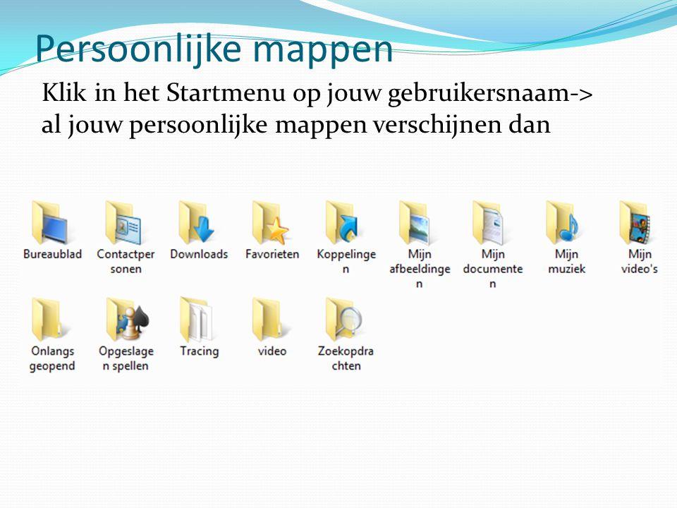 Persoonlijke mappen Klik in het Startmenu op jouw gebruikersnaam-> al jouw persoonlijke mappen verschijnen dan.