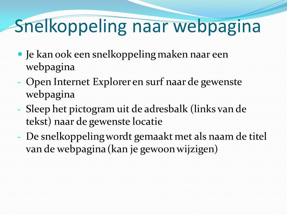 Snelkoppeling naar webpagina