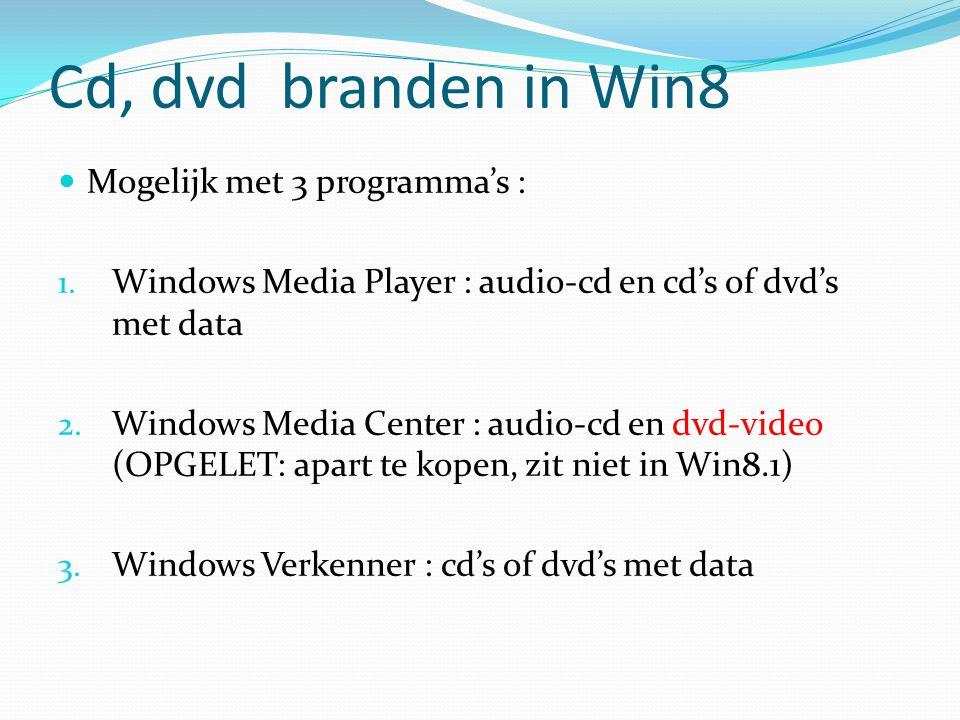 Cd, dvd branden in Win8 Mogelijk met 3 programma's :