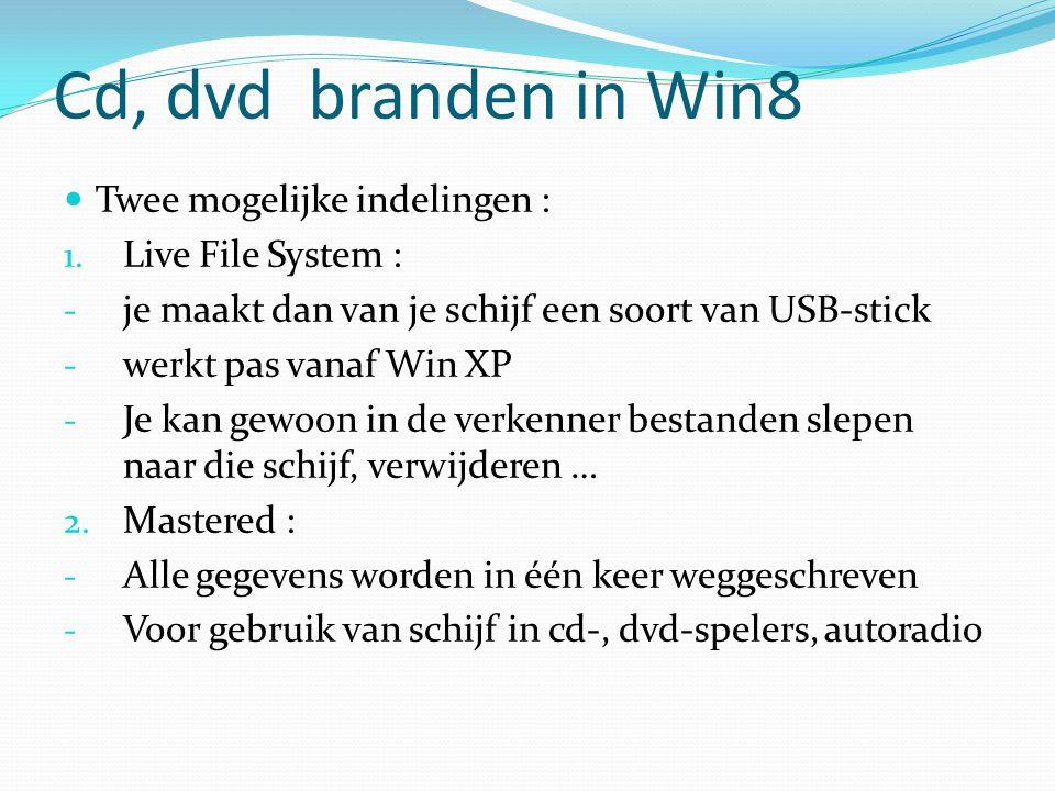 Cd, dvd branden in Win8 Twee mogelijke indelingen : Live File System :