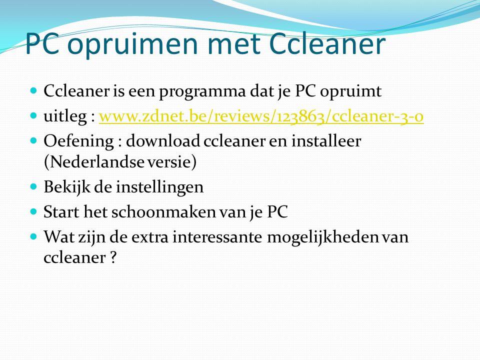 PC opruimen met Ccleaner