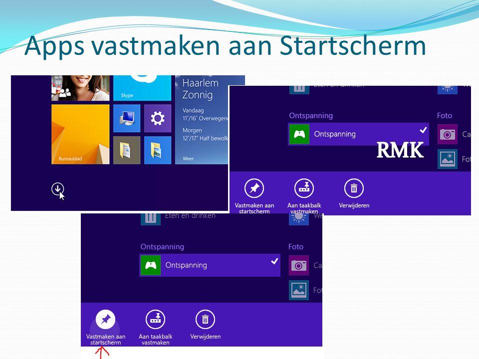 Apps vastmaken aan Startscherm