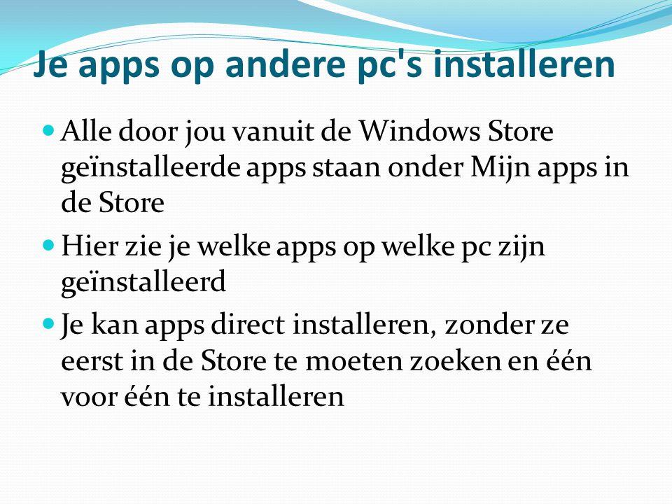 Je apps op andere pc s installeren