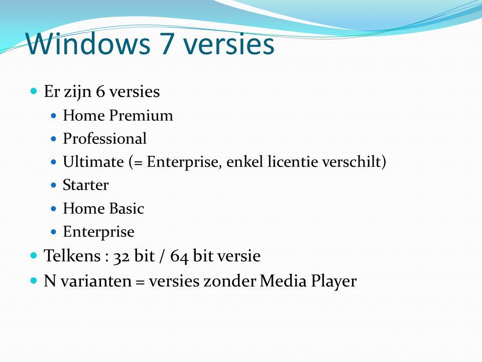 Windows 7 versies Er zijn 6 versies Telkens : 32 bit / 64 bit versie