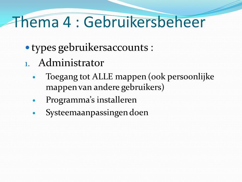 Thema 4 : Gebruikersbeheer
