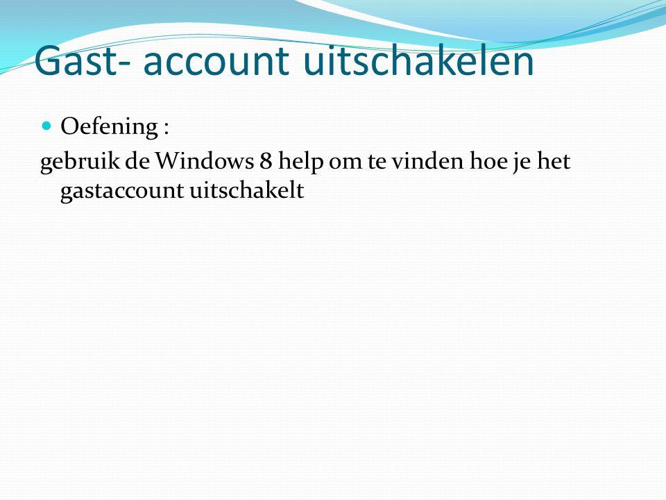 Gast- account uitschakelen