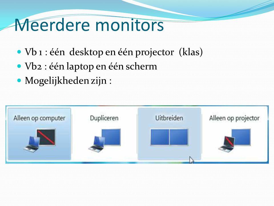 Meerdere monitors Vb 1 : één desktop en één projector (klas)