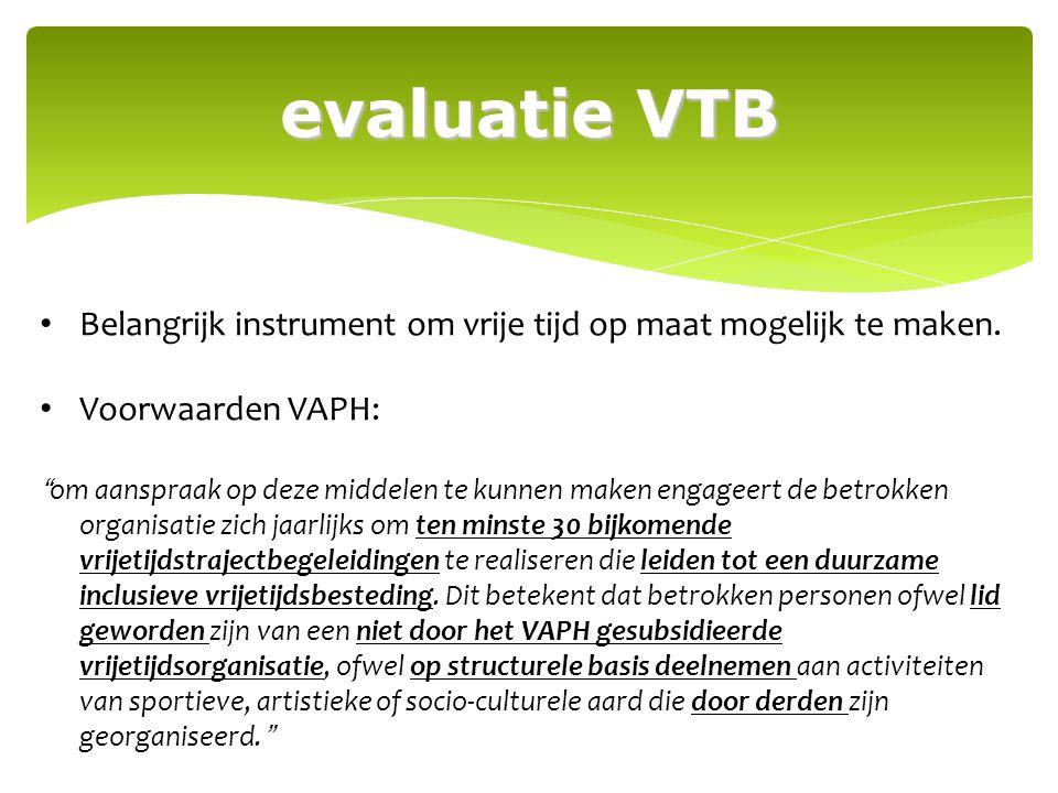evaluatie VTB Belangrijk instrument om vrije tijd op maat mogelijk te maken. Voorwaarden VAPH: