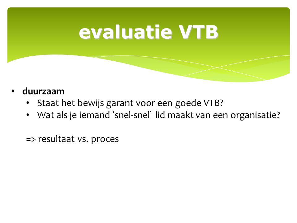 evaluatie VTB duurzaam Staat het bewijs garant voor een goede VTB