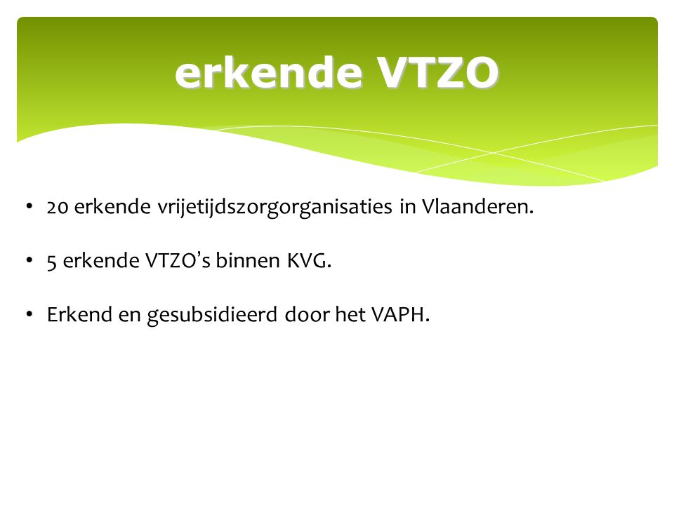 erkende VTZO 20 erkende vrijetijdszorgorganisaties in Vlaanderen.