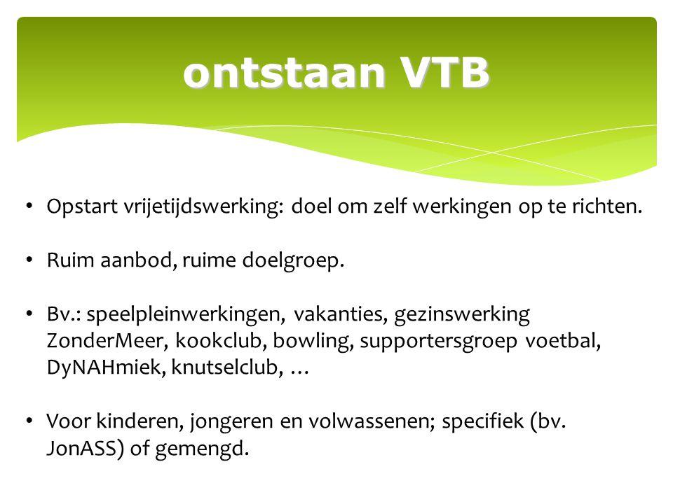 ontstaan VTB Opstart vrijetijdswerking: doel om zelf werkingen op te richten. Ruim aanbod, ruime doelgroep.