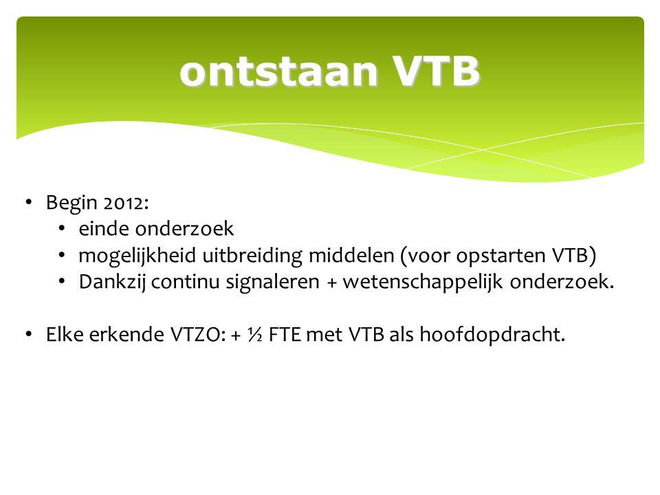 ontstaan VTB Begin 2012: einde onderzoek