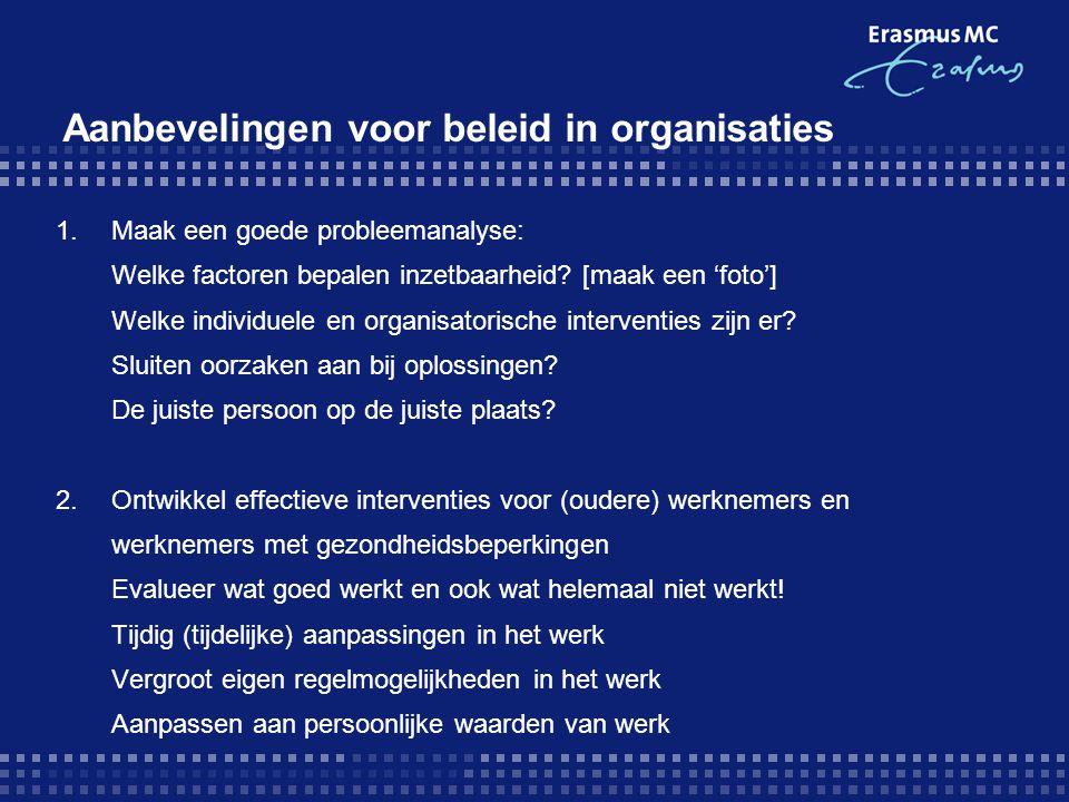Aanbevelingen voor beleid in organisaties