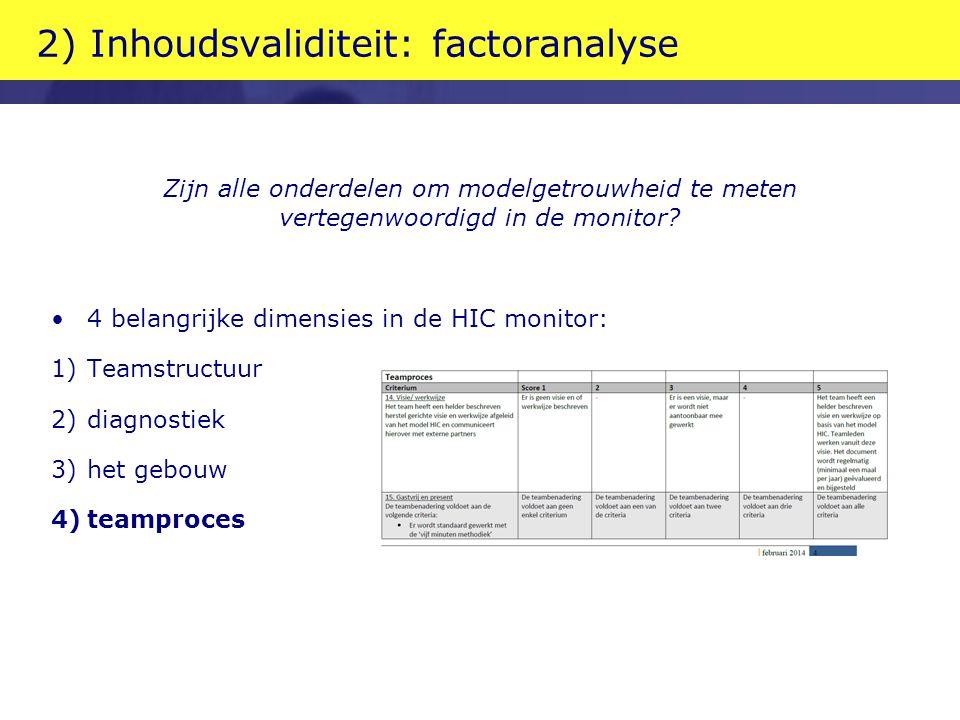 2) Inhoudsvaliditeit: factoranalyse