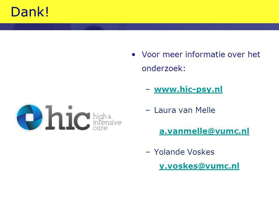 Dank! Voor meer informatie over het onderzoek: www.hic-psy.nl