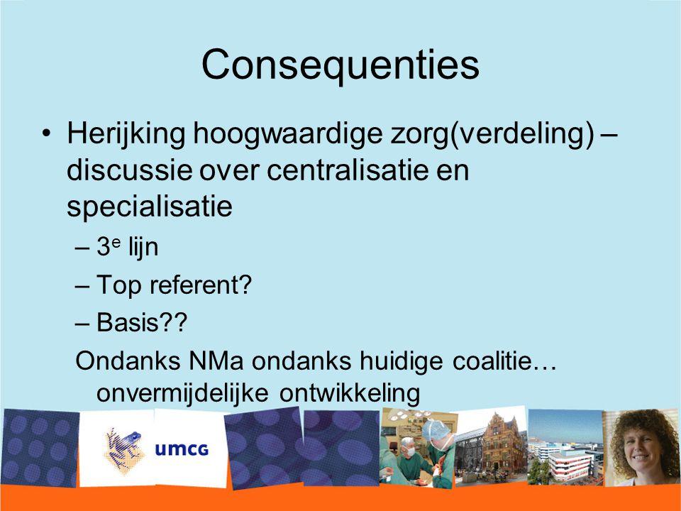 Consequenties Herijking hoogwaardige zorg(verdeling) – discussie over centralisatie en specialisatie.
