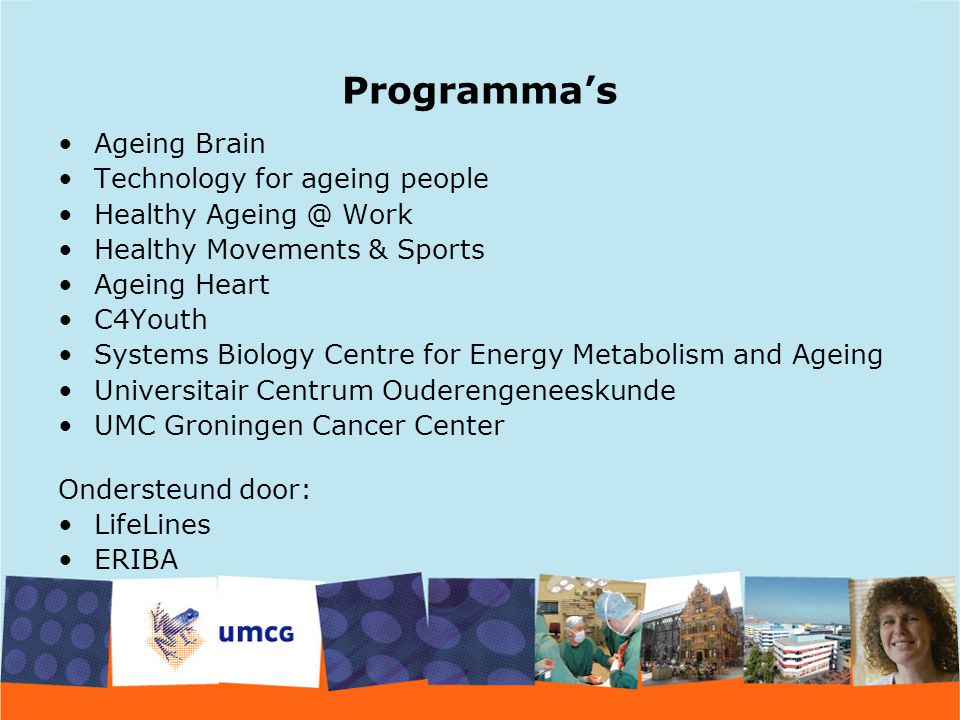 Programma's Ageing Brain Technology for ageing people