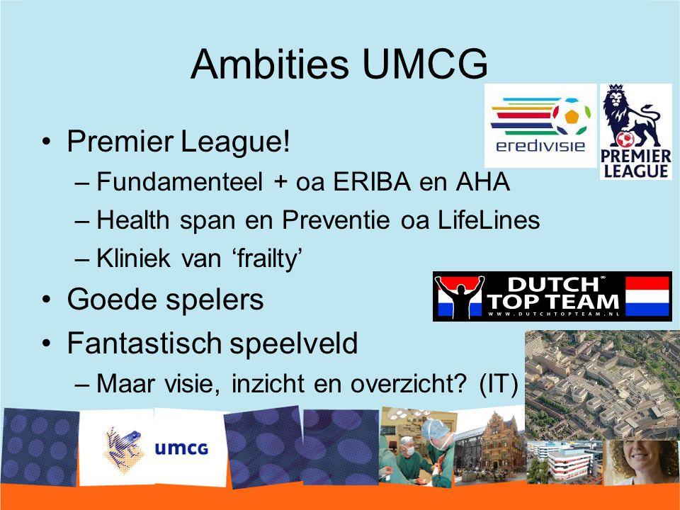 Ambities UMCG Premier League! Goede spelers Fantastisch speelveld