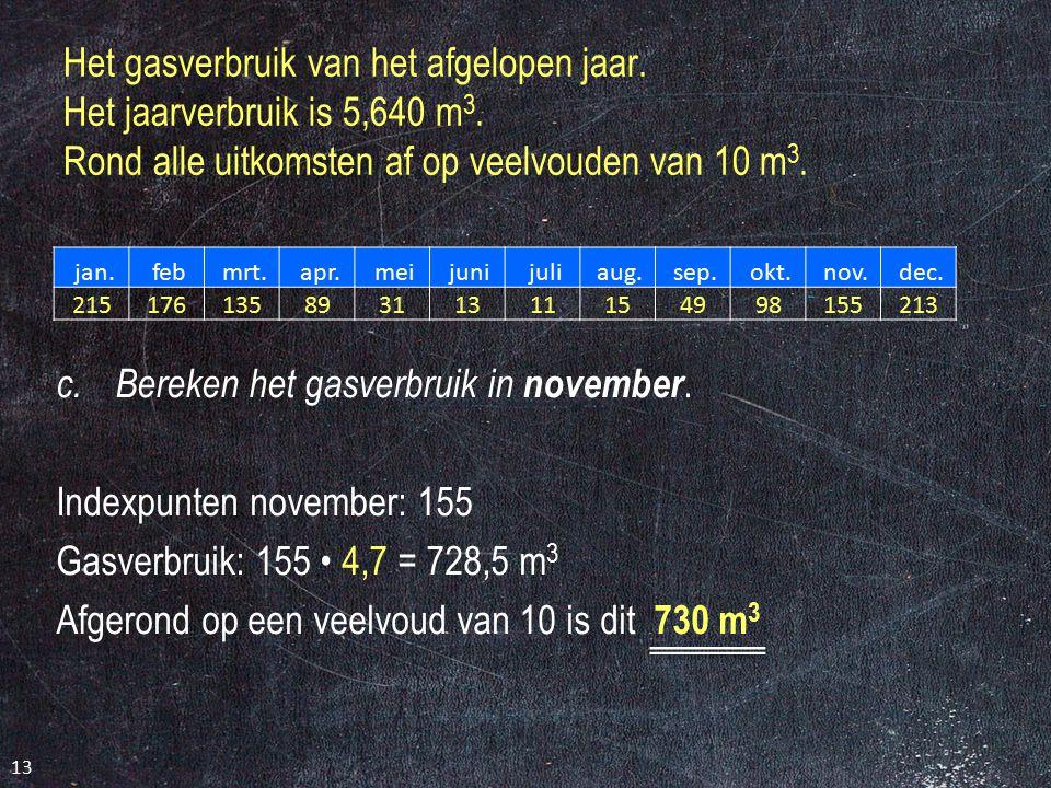 Bereken het gasverbruik in november. Indexpunten november: 155