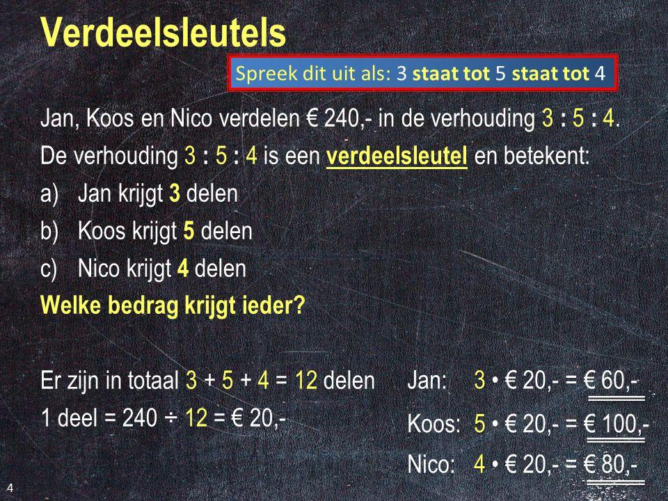 Verdeelsleutels Spreek dit uit als: 3 staat tot 5 staat tot 4. Jan, Koos en Nico verdelen € 240,- in de verhouding 3 : 5 : 4.