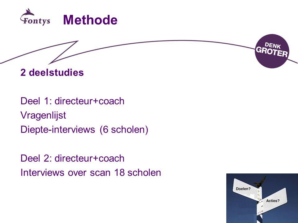 Methode 2 deelstudies Deel 1: directeur+coach Vragenlijst Diepte-interviews (6 scholen) Deel 2: directeur+coach Interviews over scan 18 scholen