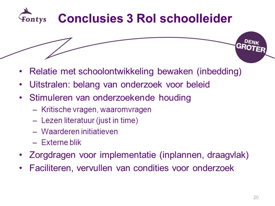 Conclusies 3 Rol schoolleider