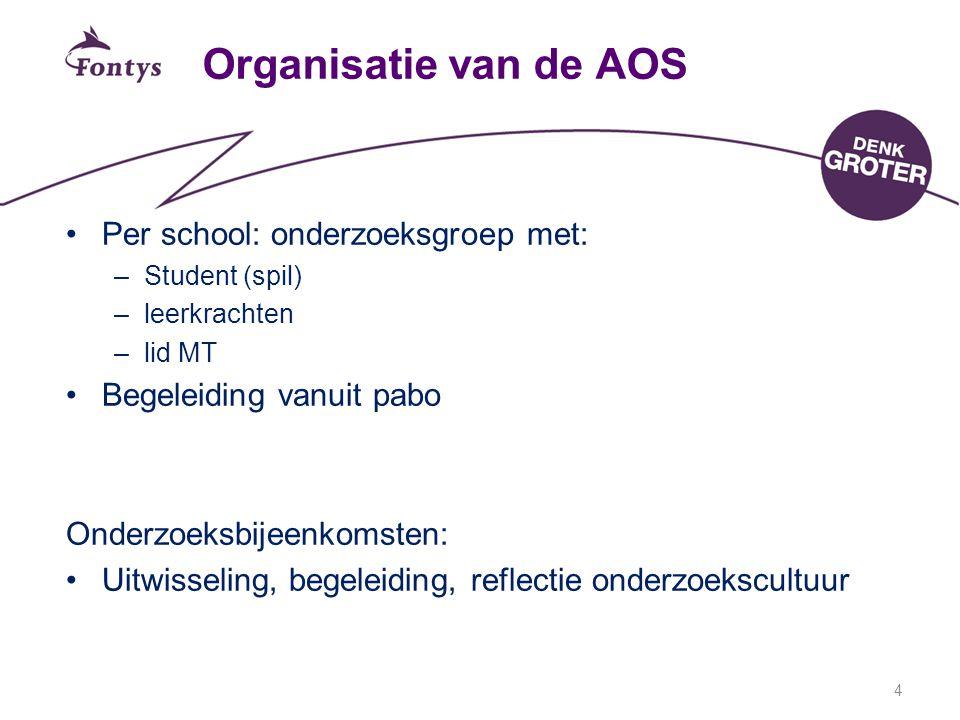 Organisatie van de AOS Per school: onderzoeksgroep met: