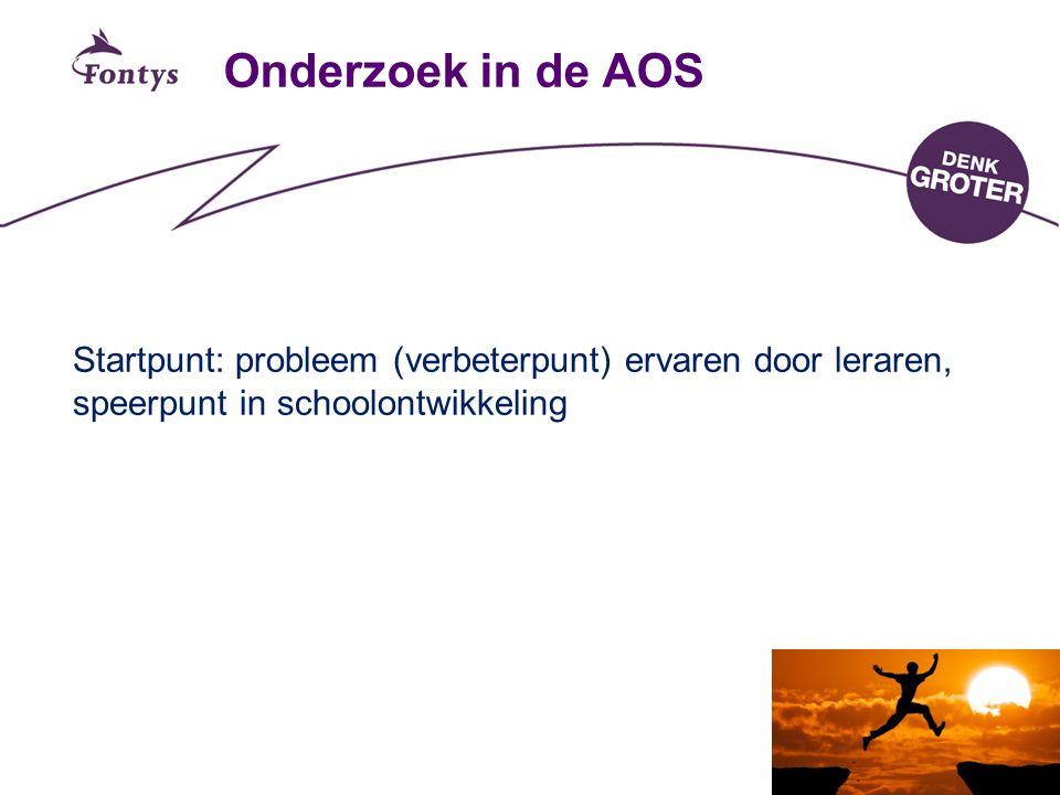 Onderzoek in de AOS Startpunt: probleem (verbeterpunt) ervaren door leraren, speerpunt in schoolontwikkeling.