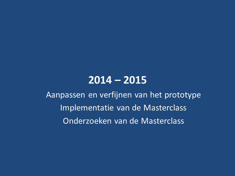 2014 – 2015 Aanpassen en verfijnen van het prototype