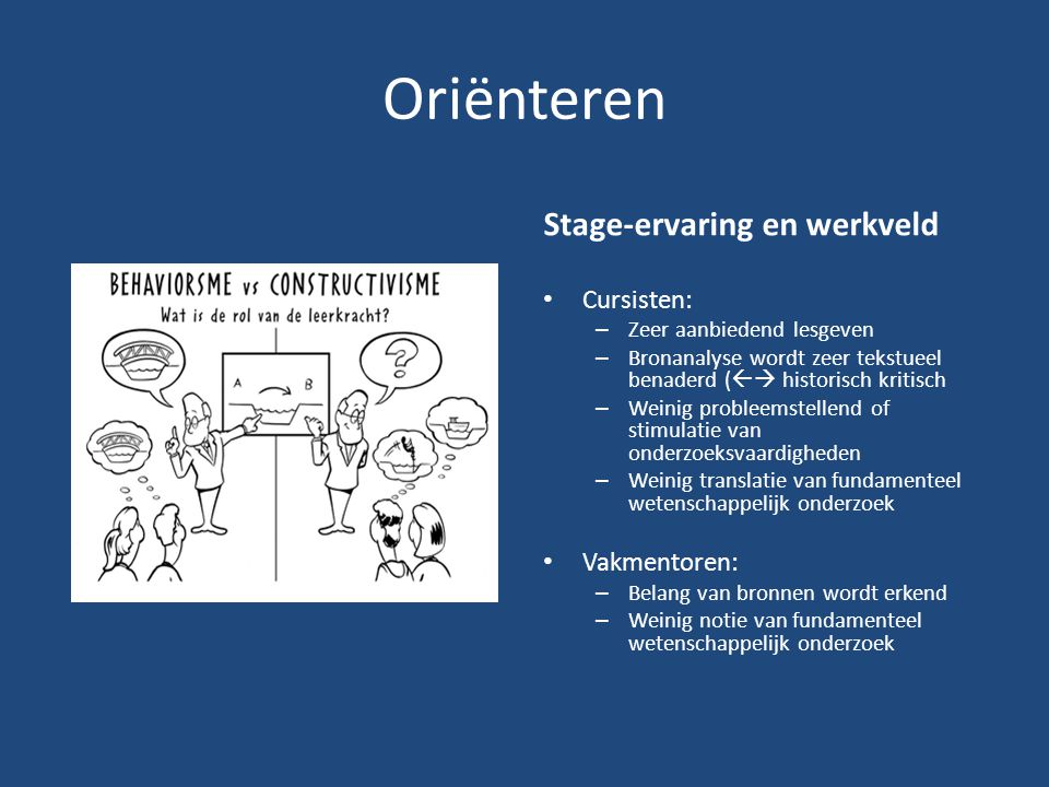 Oriënteren Stage-ervaring en werkveld Cursisten: Vakmentoren: