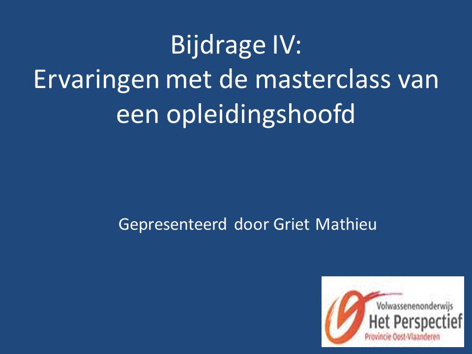 Bijdrage IV: Ervaringen met de masterclass van een opleidingshoofd