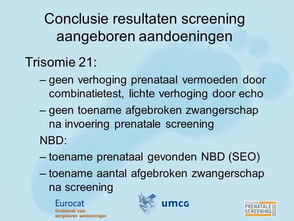 Conclusie resultaten screening aangeboren aandoeningen