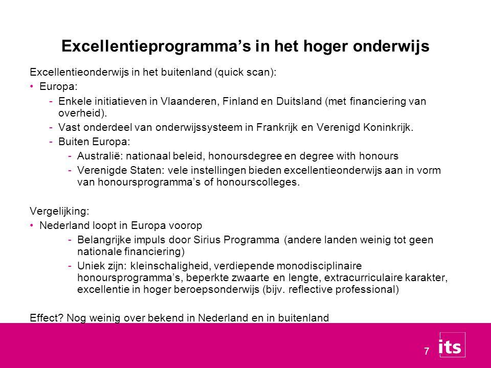 Excellentieprogramma's in het hoger onderwijs