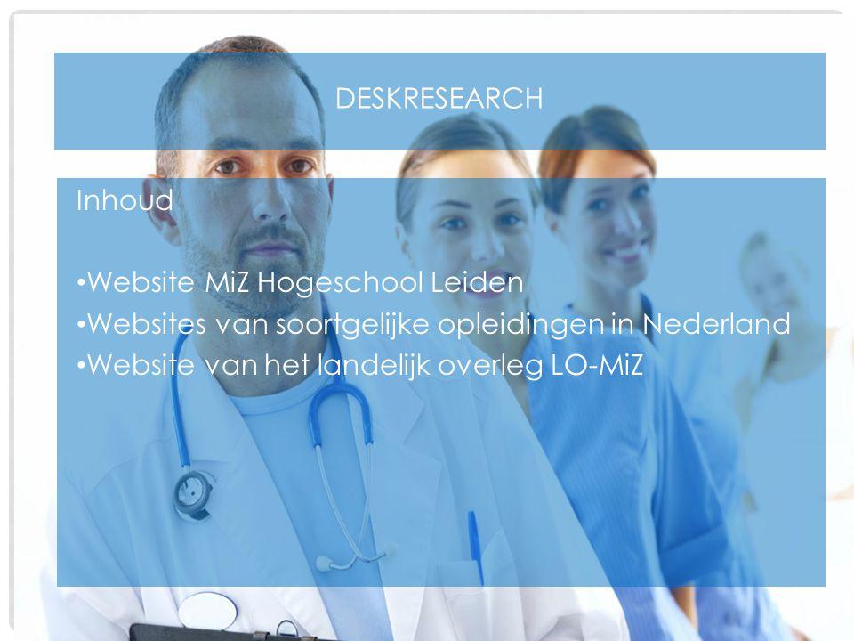 Deskresearch Inhoud. Website MiZ Hogeschool Leiden. Websites van soortgelijke opleidingen in Nederland.