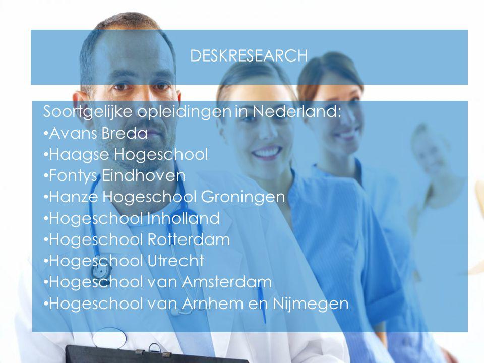Deskresearch Soortgelijke opleidingen in Nederland: Avans Breda. Haagse Hogeschool. Fontys Eindhoven.