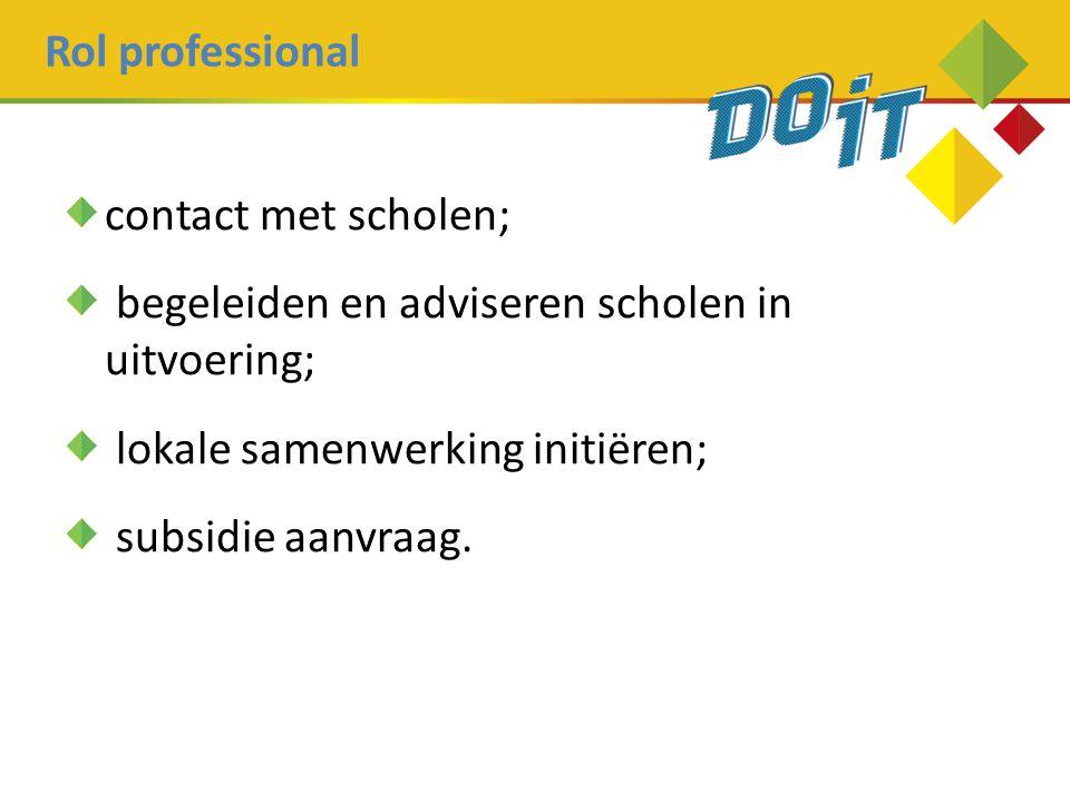 Rol professional contact met scholen; begeleiden en adviseren scholen in uitvoering; lokale samenwerking initiëren;
