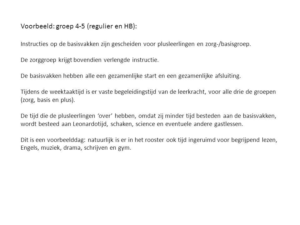 Voorbeeld: groep 4-5 (regulier en HB):
