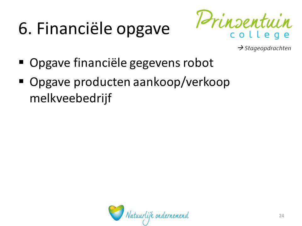 6. Financiële opgave Opgave financiële gegevens robot