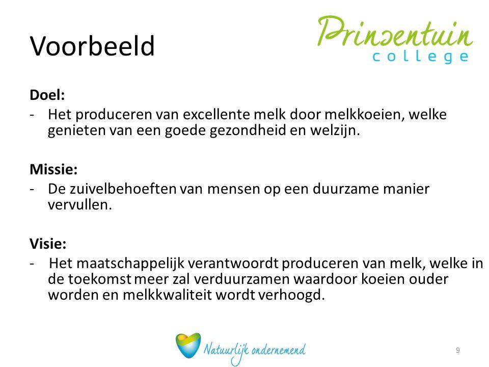 Voorbeeld Doel: Het produceren van excellente melk door melkkoeien, welke genieten van een goede gezondheid en welzijn.