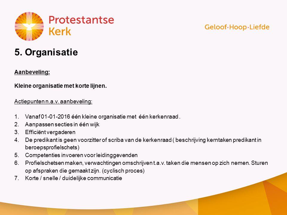 5. Organisatie Aanbeveling: Kleine organisatie met korte lijnen.