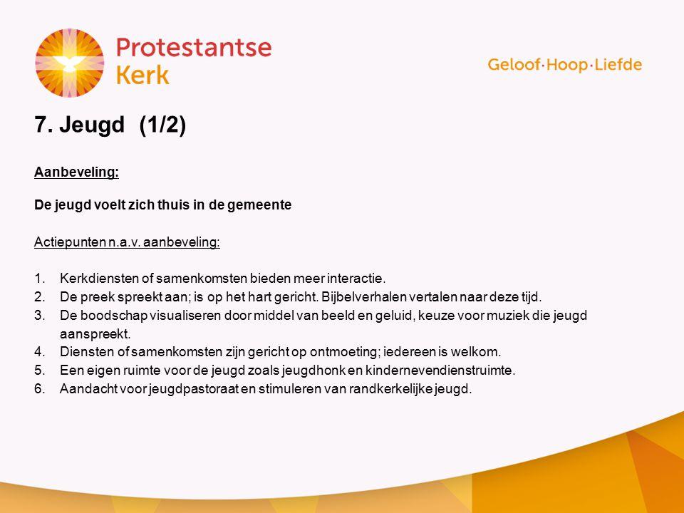 7. Jeugd (1/2) Aanbeveling: De jeugd voelt zich thuis in de gemeente