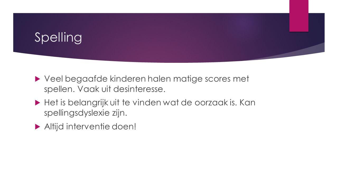 Spelling Veel begaafde kinderen halen matige scores met spellen. Vaak uit desinteresse.