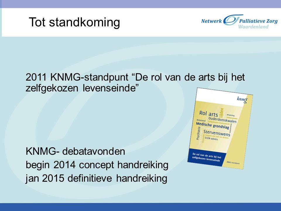 Tot standkoming 2011 KNMG-standpunt De rol van de arts bij het zelfgekozen levenseinde KNMG- debatavonden.