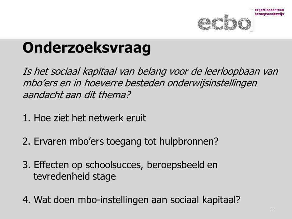 Onderzoeksvraag Is het sociaal kapitaal van belang voor de leerloopbaan van. mbo'ers en in hoeverre besteden onderwijsinstellingen.