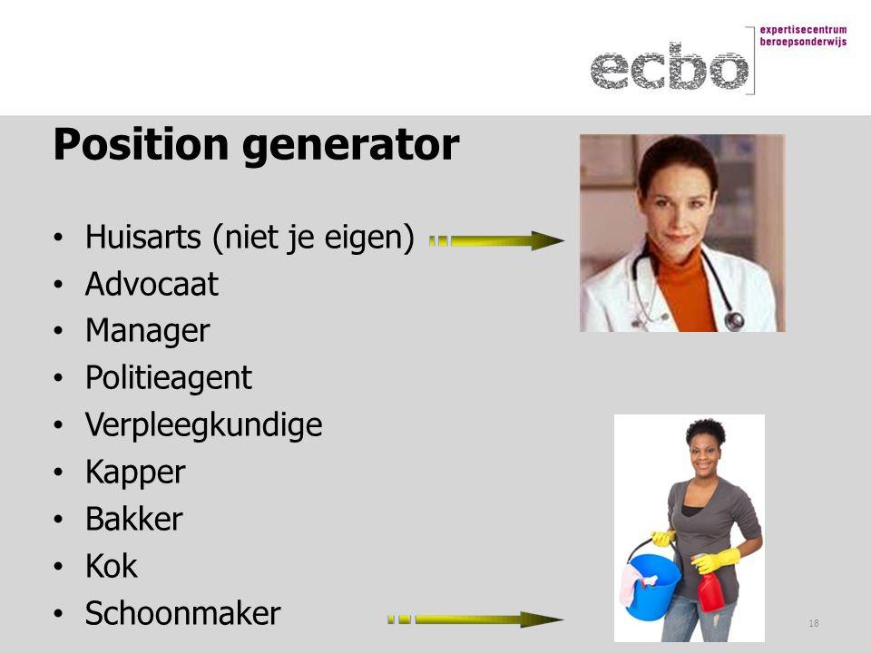 Position generator Huisarts (niet je eigen) Advocaat Manager