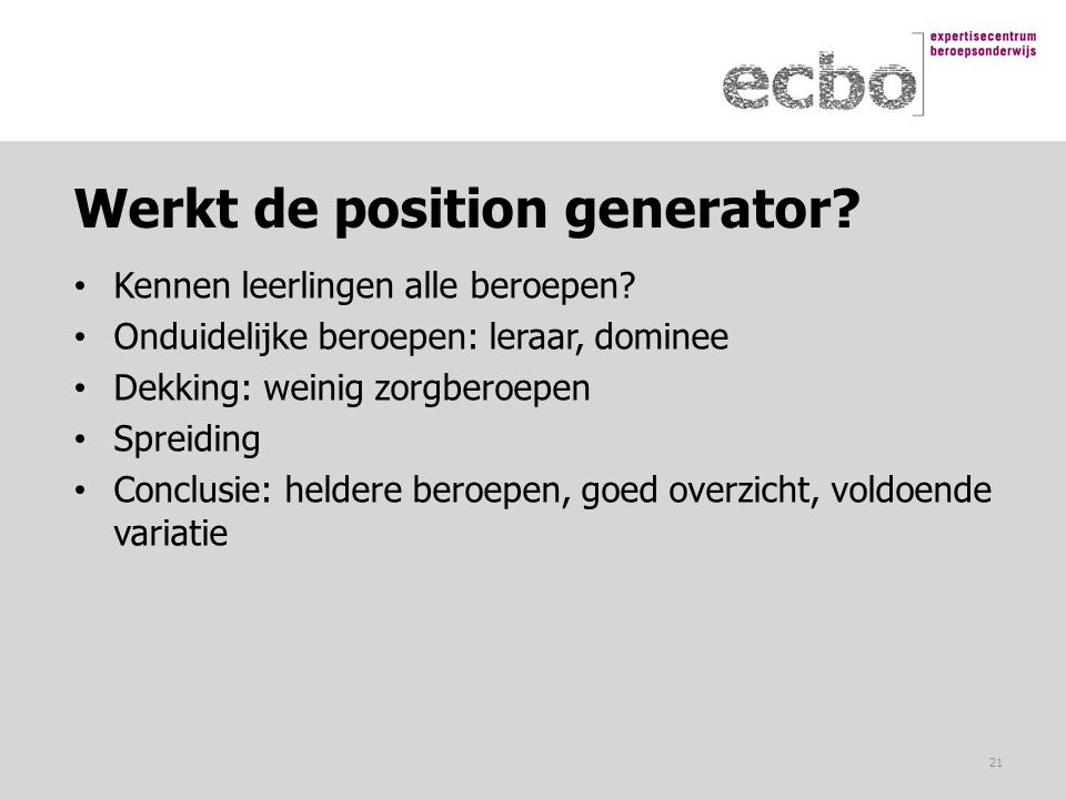 Werkt de position generator