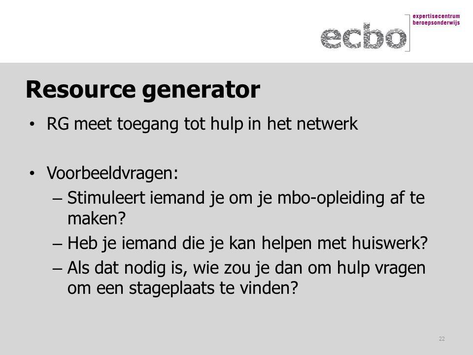 Resource generator RG meet toegang tot hulp in het netwerk