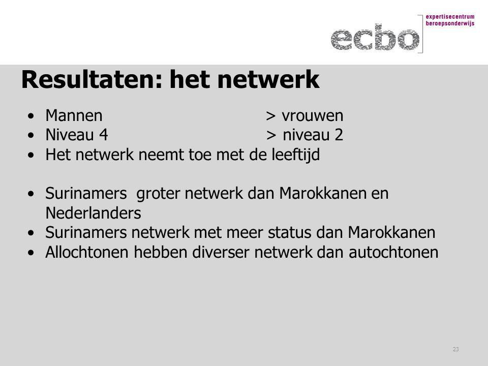 Resultaten: het netwerk