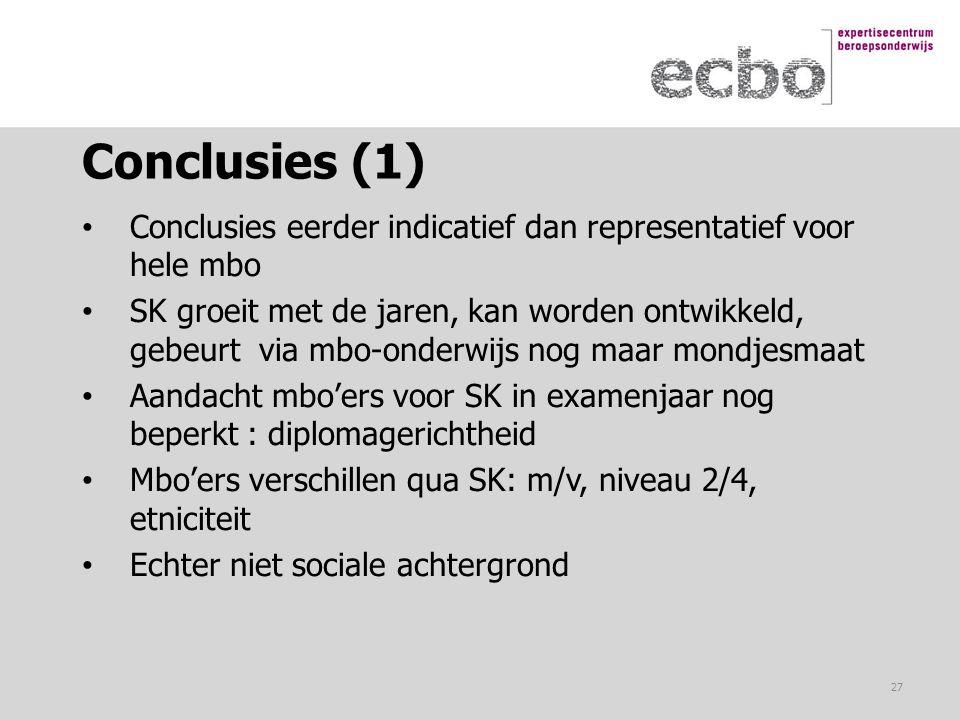 Conclusies (1) Conclusies eerder indicatief dan representatief voor hele mbo.