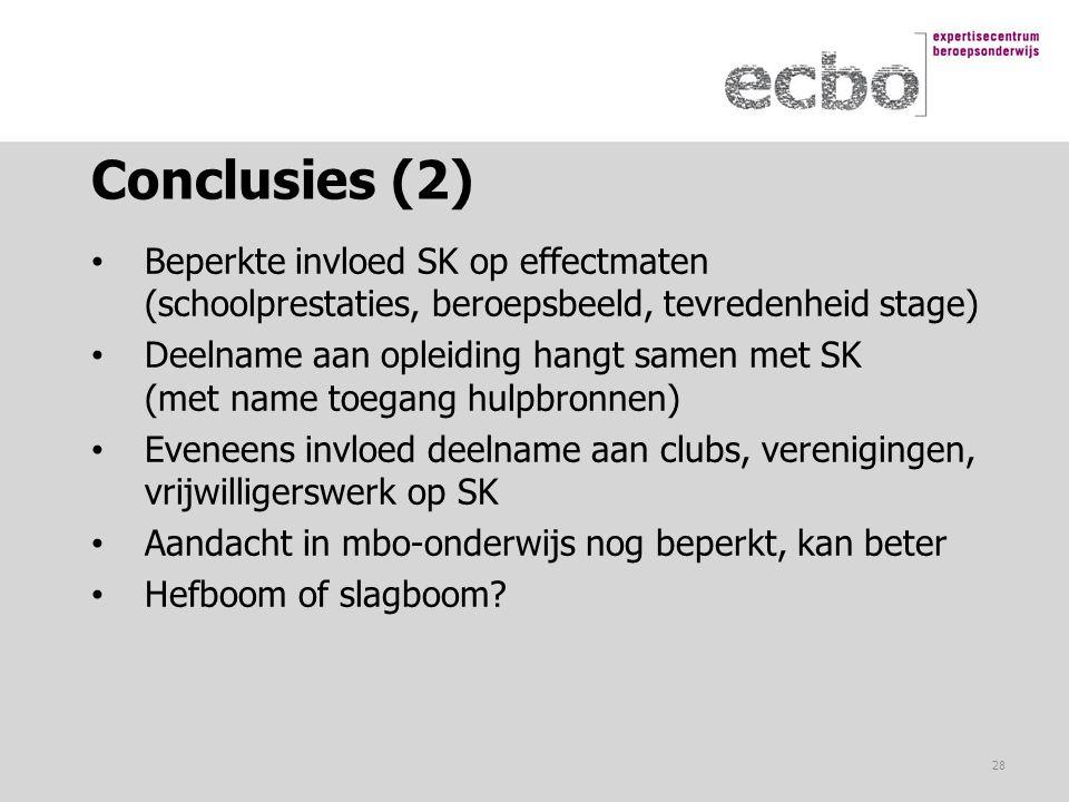 Conclusies (2) Beperkte invloed SK op effectmaten (schoolprestaties, beroepsbeeld, tevredenheid stage)
